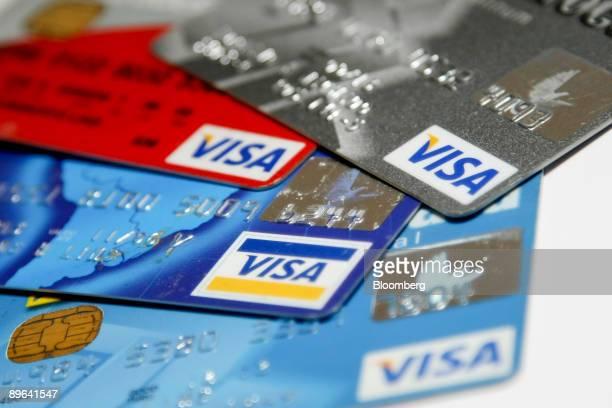 Visa Inc credit cards are arranged for a photograph in Brasilia Brazil on Thursday June 25 2009 Cia Brasileira de Meios de Pagamentos the Sao...