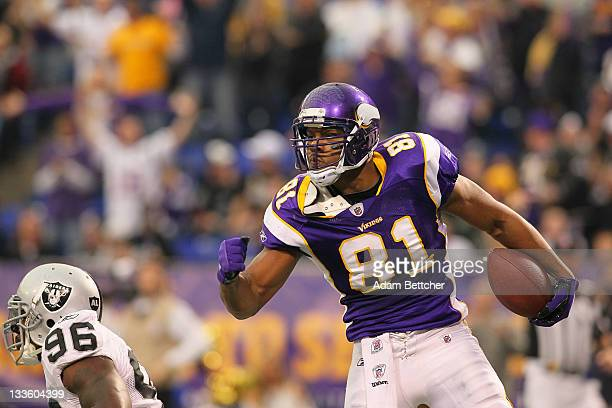 Visanthe Shiancoe of the Minnesota Vikings celebrates a gain against the Oakland Raiders at the Hubert H Humphrey Metrodome on November 20 2011 in...