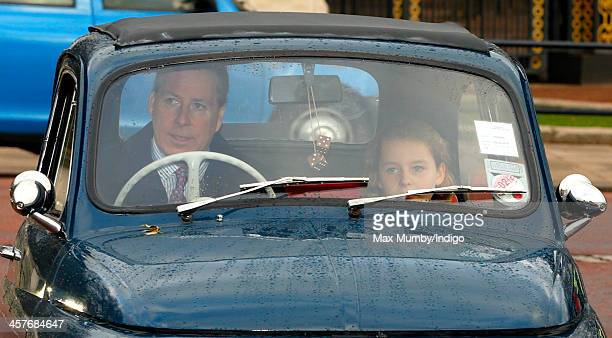 Viscount David Linley and his daughter Margarita ArmstrongJones arrive at Buckingham Palace to attend a Christmas Lunch hosted by Queen Elizabeth II...