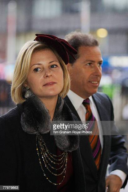 Viscount David Linley and his wife Viscountess Serena Linley attend a service of thanksgiving at Westminster Abbey to celebrate the Queen and Prince...