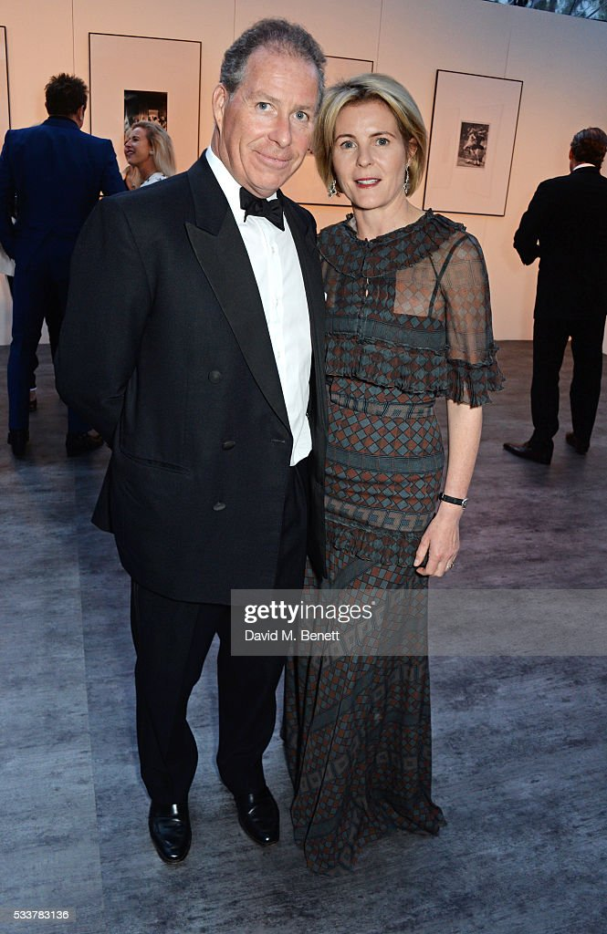 Viscount David Linley (L) and <a gi-track='captionPersonalityLinkClicked' href=/galleries/search?phrase=Viscountess+Serena+Linley&family=editorial&specificpeople=161116 ng-click='$event.stopPropagation()'>Viscountess Serena Linley</a> attend British Vogue's Centenary gala dinner at Kensington Gardens on May 23, 2016 in London, England.