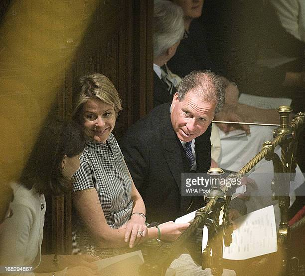 Viscount Linley and Viscountess Linley attend the the State Opening of Parliament on May 8 2013 in London England Queen Elizabeth II unveiled the...