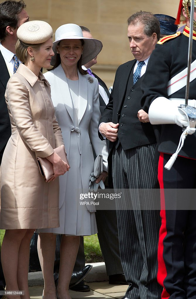 Viscount Linley, his wife Viscountess Linley and Lady Sarah Chatto attend the Order of the Garter procession and service at Windsor Castle on June 18, 2011 in Windsor, England. The Order of the Garter is the senior and oldest British Order of Chivalry, founded by Edward III in 1348. Membership in the order is limited to the sovereign, the Prince of Wales, and no more than twenty-four members.