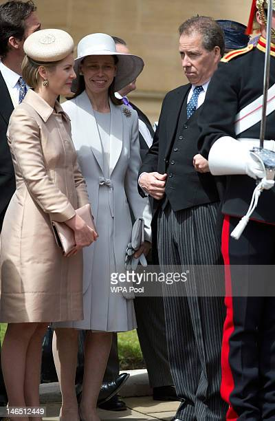 Viscount Linley his wife Viscountess Linley and Lady Sarah Chatto attend the Order of the Garter procession and service at Windsor Castle on June 18...