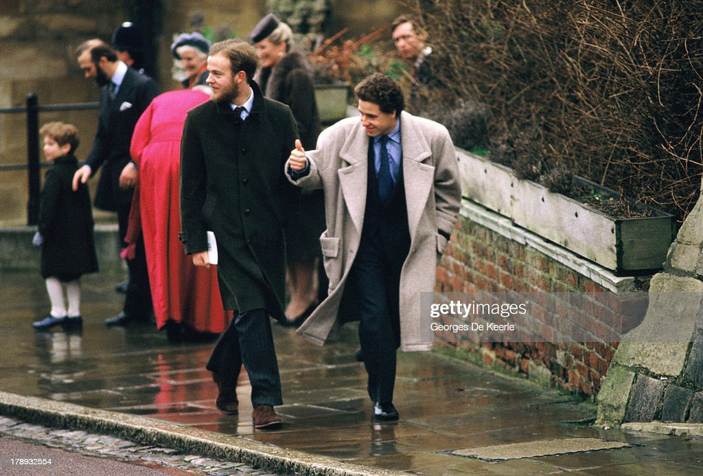 Viscount Linley (C), son of Princess Margaret, attends the Royal Christmas Service at St George's Chapel on December 25, 1984 in Windsor, England.