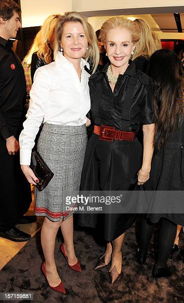 Viscountess Serena Linley and Carolina Herrera attend the launch of CH Carolina Herrera's White Shirt Collection at their new Fulham Road store on...