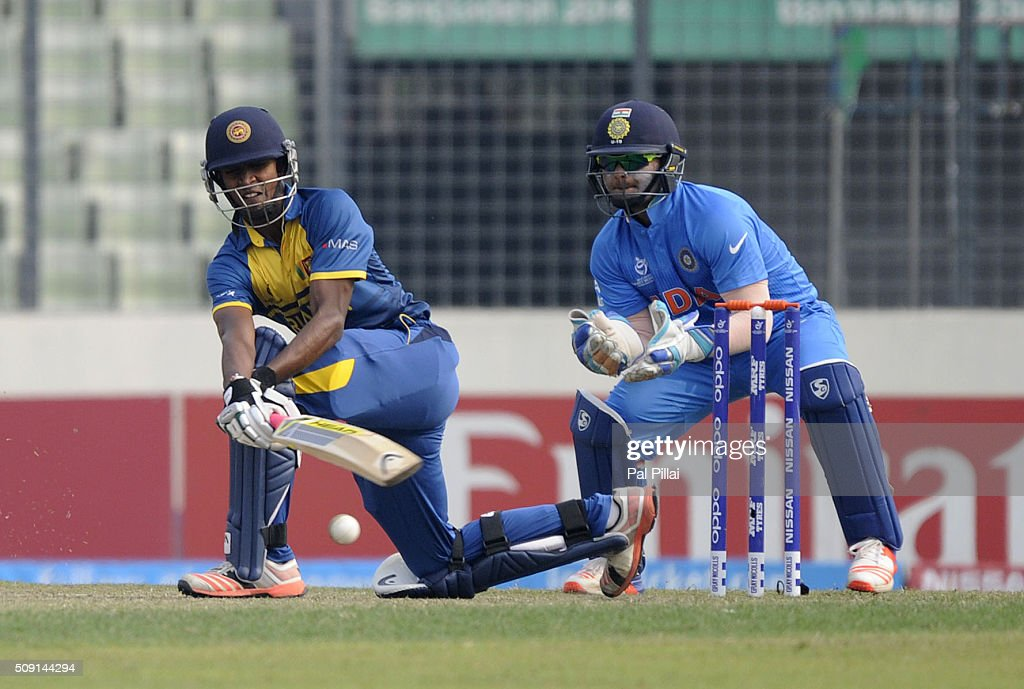 Vishad Randika of Sri Lanka bats during the ICC U19 World Cup Semi-Final match between India and Sri Lanka on February 9, 2016 in Dhaka, Bangladesh.