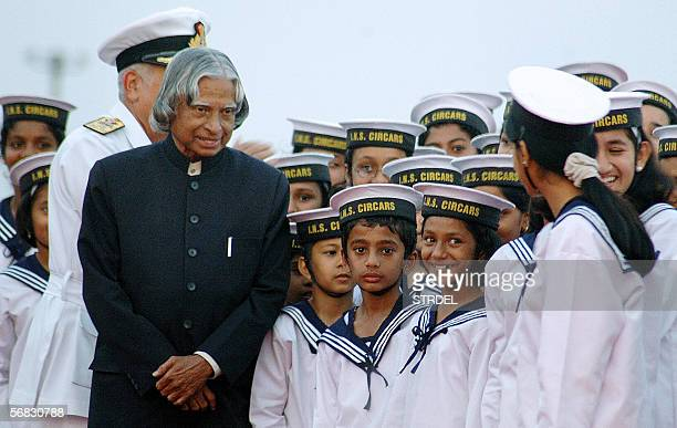 Indian President Sri Abdul Kalam visits with children during Fleet Review 2006 in Vishakapatnam 700 kms southeast of Hyderabad 12 February 2006 Some...