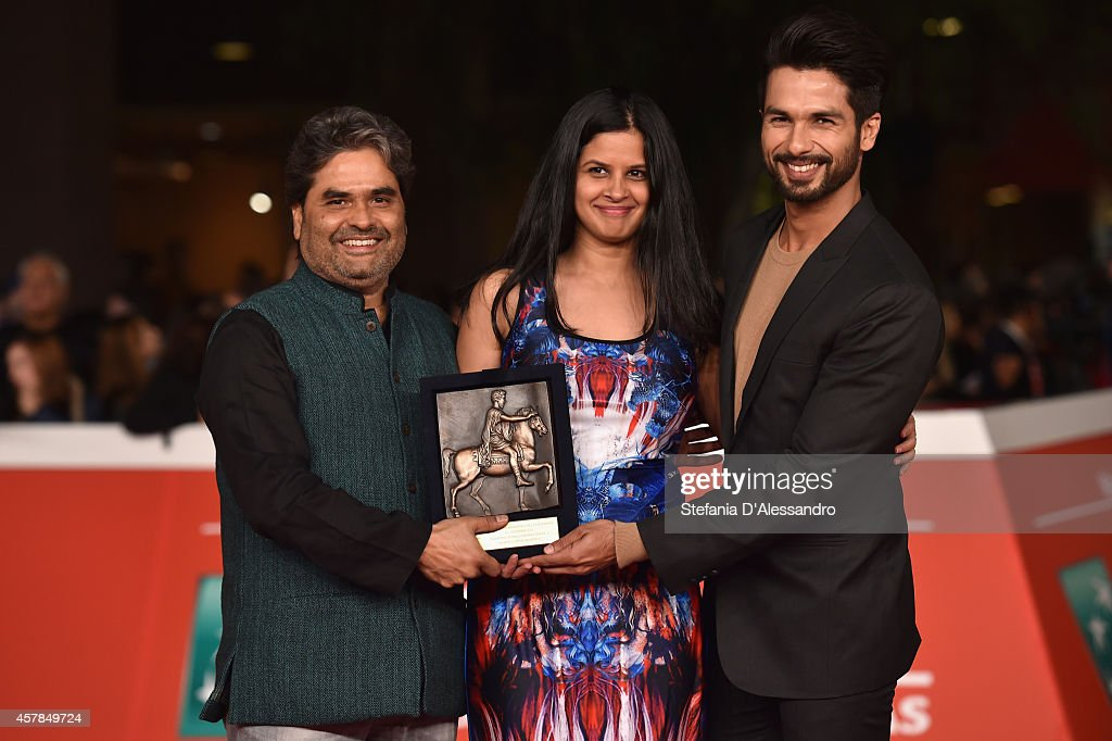 Vishal Bhardwaj, Amrita Pandey and Shahid Kapoor pose with the People's Choice Award Mondo Genere at the Award Winners Photocall during the 9th Rome Film Festival on October 25, 2014 in Rome, Italy.