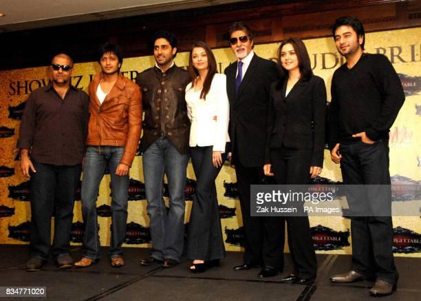 Vishal Dadlani Riteish Deshmukh Abhishek Bachchan Aishwarya Rai Bachchan Amitabh Bachchan Preity Zinta and Shekhar Ravjiani pictured during a...