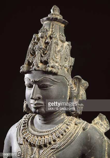 Vishnu blue shale statue from Gwalior Mahya Pradesh India Detail Indian Civilisation 11th12th century