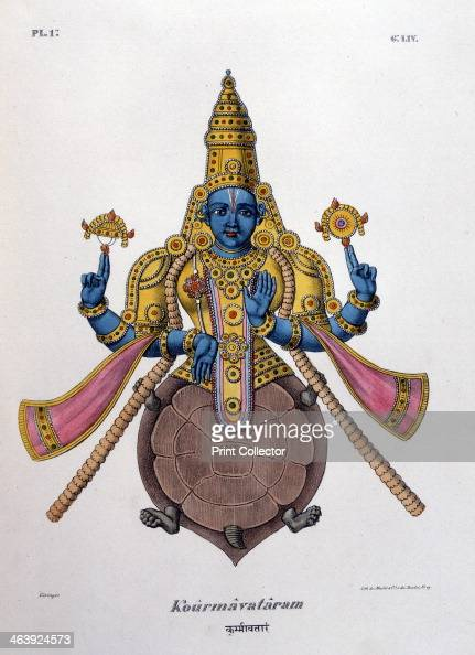 Vishnu one of the gods of the Hindu trinity 1828 Vishnu in his second avatar with the body of a turtle IIllustration from L'Inde Francaise