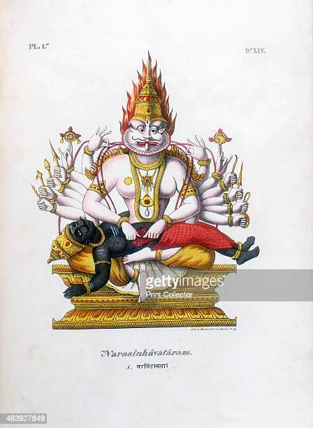 Vishnu one of the gods of the Hindu trinity c19th century Vishnu in his fourth avatar of Narasimha the man lion From L'Inde Francaise