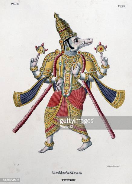 Vishnu one of the gods of the Hindu trinity in his third avatar Coloured lithograph from 'L'Inde francaise' 1828