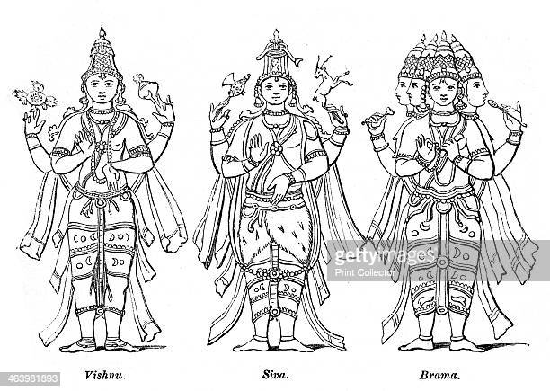 Vishnu Shiva and Brahma 1847 Hindu deities Illustration from The History of China and India by Miss Corner
