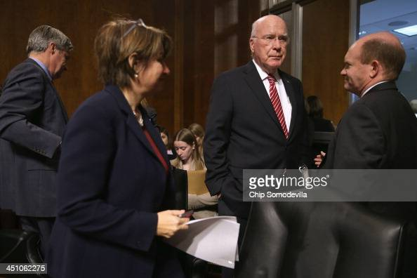 A visibly frustrated Senate Judicary Committee Chairman Patrick Leahy and committee members Sen Sheldon Whitehouse Sen Amy Klobuchar and Sen Chris...