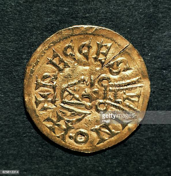 Visigoth gold coin 5th8th centuries Numismatic Cabinet of Catalonia National Art Museum of Catalonia Barcelona Spain