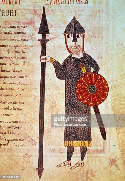 A Visigoth infantryman He wears a chain mail a sword a spear and a shield and his face is protected by a helmet which cover his nose Miniature from...