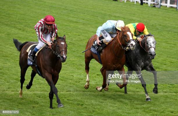 Vision D'etat ridden by jockey Olivier Peslier comes home to win the Prince Of Wales's Stakes at Ascot Racecourse Berkshire