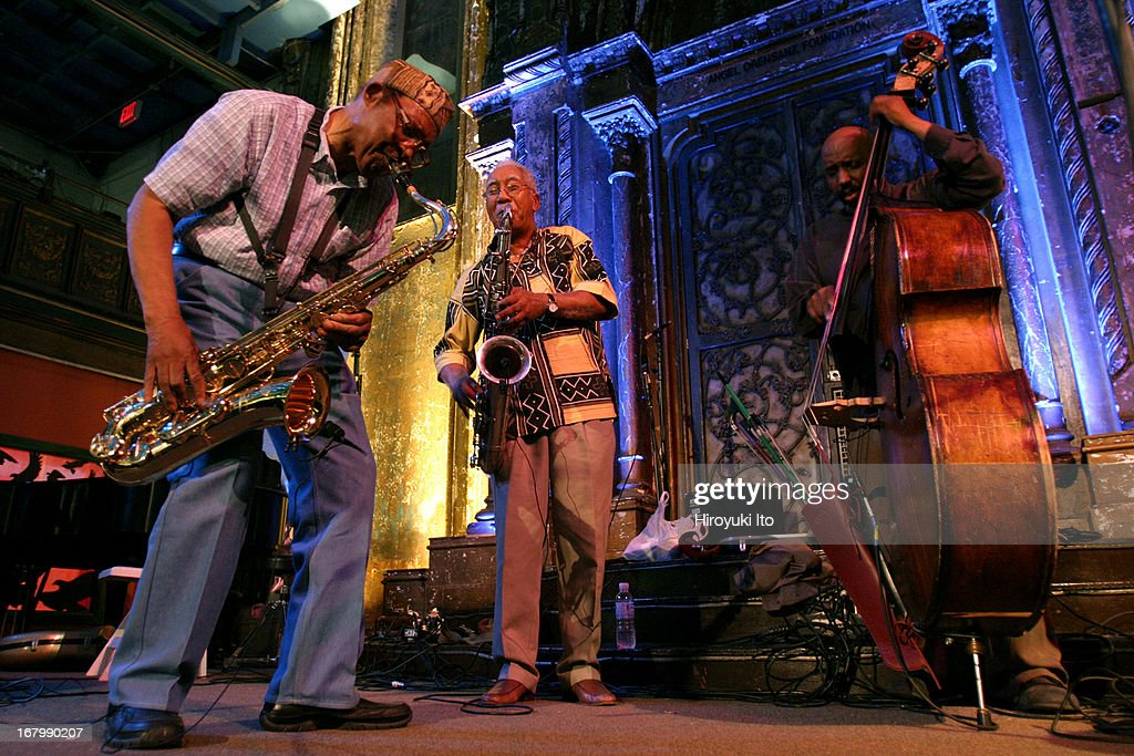 Vision Festival paying tribute to the tenor saxophonist Fred Anderson at Angel Orensanz on Thursday night, June 16, 2005.This image (from left):Fred Anderson (tenor sax), Kidd Jordan (tenor sax) and <a gi-track='captionPersonalityLinkClicked' href=/galleries/search?phrase=William+Parker+-+Musician&family=editorial&specificpeople=15370335 ng-click='$event.stopPropagation()'>William Parker</a> (bass).
