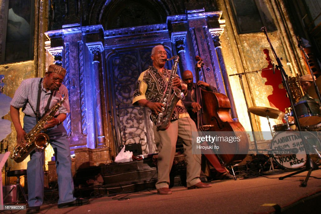 Vision Festival paying tribute to the tenor saxophonist Fred Anderson at Angel Orensanz on Thursday night, June 16, 2005.This image (from left):Fred Anderson (tenor sax), Kidd Jordan (tenor sax), <a gi-track='captionPersonalityLinkClicked' href=/galleries/search?phrase=William+Parker+-+Musician&family=editorial&specificpeople=15370335 ng-click='$event.stopPropagation()'>William Parker</a> (bass) and Hamid Drake (drums).