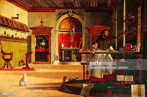 Vision of St Augustine by Vittore Carpaccio tempera on wood 141x210 cm Church of San Giorgio degli Schiavoni Venice Italy