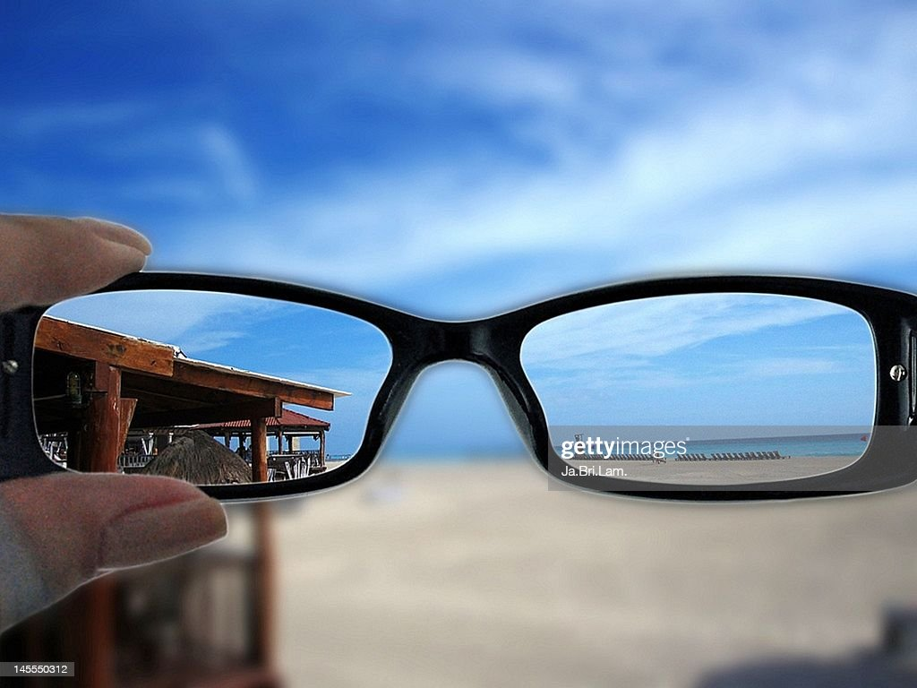 Vision with and without glasses : Stock Photo