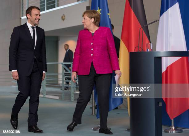Visit in Berlin Emmanuel Macron President of the French Republic The photo shows Federal Chancellor female Angela Merkel and Emmanuel Macron on the...