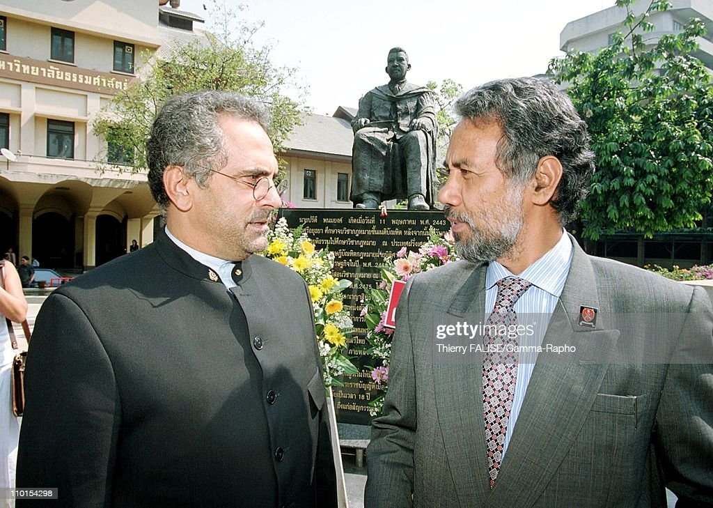 Visit of East Timor leader <a gi-track='captionPersonalityLinkClicked' href=/galleries/search?phrase=Xanana+Gusmao&family=editorial&specificpeople=223915 ng-click='$event.stopPropagation()'>Xanana Gusmao</a> in Bangkok, Thailand on February 01, 2000 - With Jose Ramos Horta, Nobel Peace Prize.