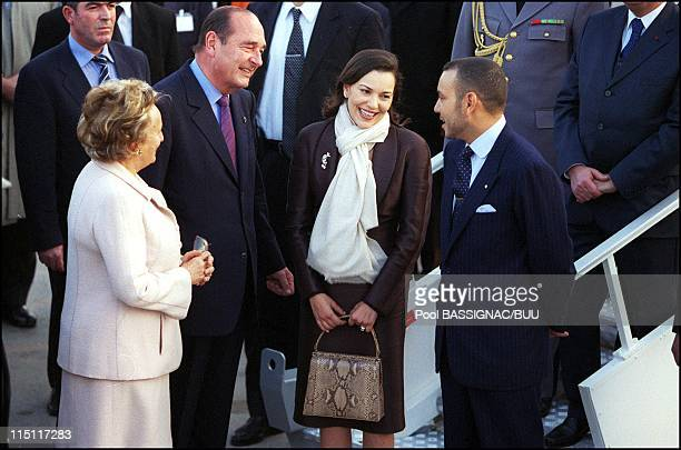 Visit of Mohammed VI to France arrival at Orly airport in Orly France on March 19 2000 Mr and Mrs Chirac Lalla Hasna and Mohammed VI