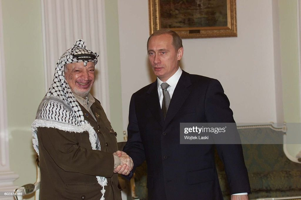 Visit of Palestinian leader Yasser Arafat in Moscow, Russia, on November 24th, 2000. Pictured: Yasser Arafat and Russian President Vladimir Putin.