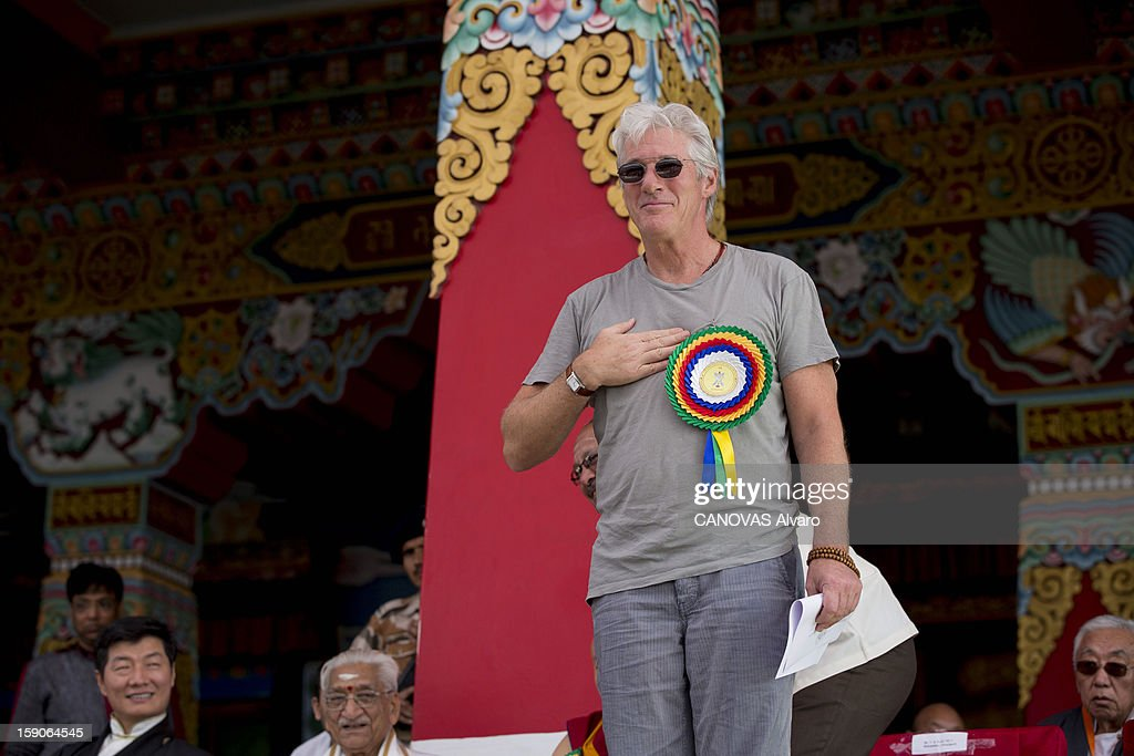 Visit of the Dalai Lama in Mundgod in India, Indian enclave offered to Tibetan refugees, to provide a series of lessons based on Lamrin, a former Buddhist text in the presence of thirty thousand pilgrims. including actor <a gi-track='captionPersonalityLinkClicked' href=/galleries/search?phrase=Richard+Gere&family=editorial&specificpeople=202110 ng-click='$event.stopPropagation()'>Richard Gere</a> .