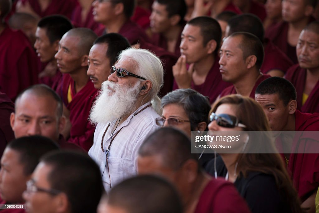 Visit of the Dalai Lama in Mundgod in India, Indian enclave offered to Tibetan refugees, to provide a series of lessons based on Lamrin, a former Buddhist text in the presence of thirty thousand pilgrims,