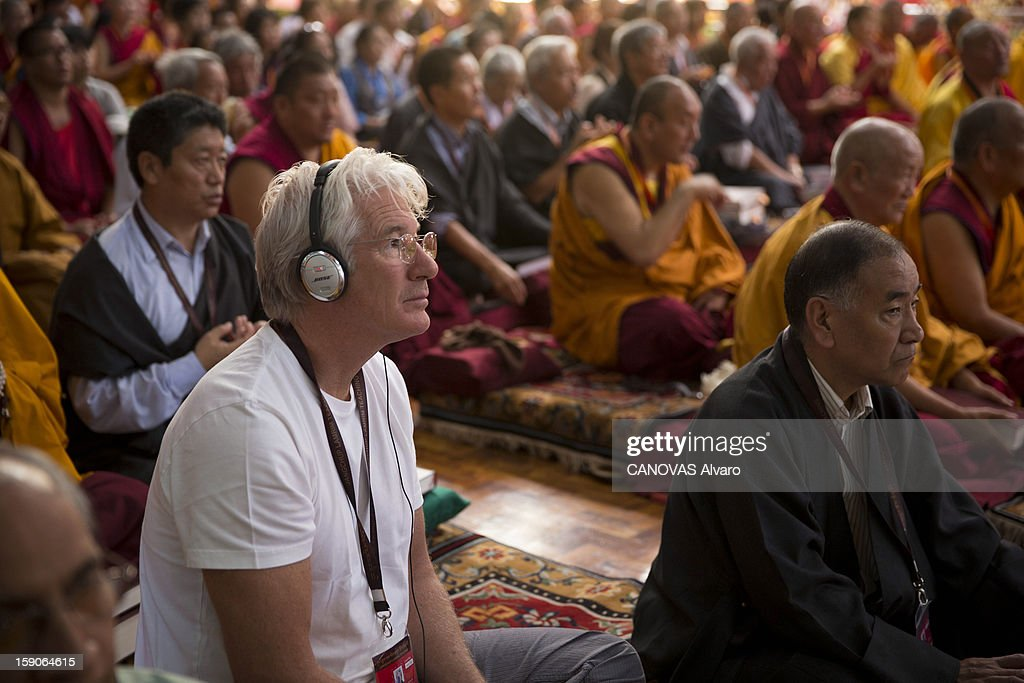 Visit of the Dalai Lama in Mundgod in India, Indian enclave offered to Tibetan refugees, to provide a series of lessons based on Lamrin, a former Buddhist text in the presence of thirty thousand pilgrims including Actor <a gi-track='captionPersonalityLinkClicked' href=/galleries/search?phrase=Richard+Gere&family=editorial&specificpeople=202110 ng-click='$event.stopPropagation()'>Richard Gere</a>.