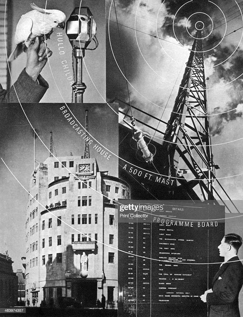 'A visit to the BBC' 1937 A cockatoo saying 'Hello children' into a microphone Broadcasting House a 500foot transmitter a programme board...