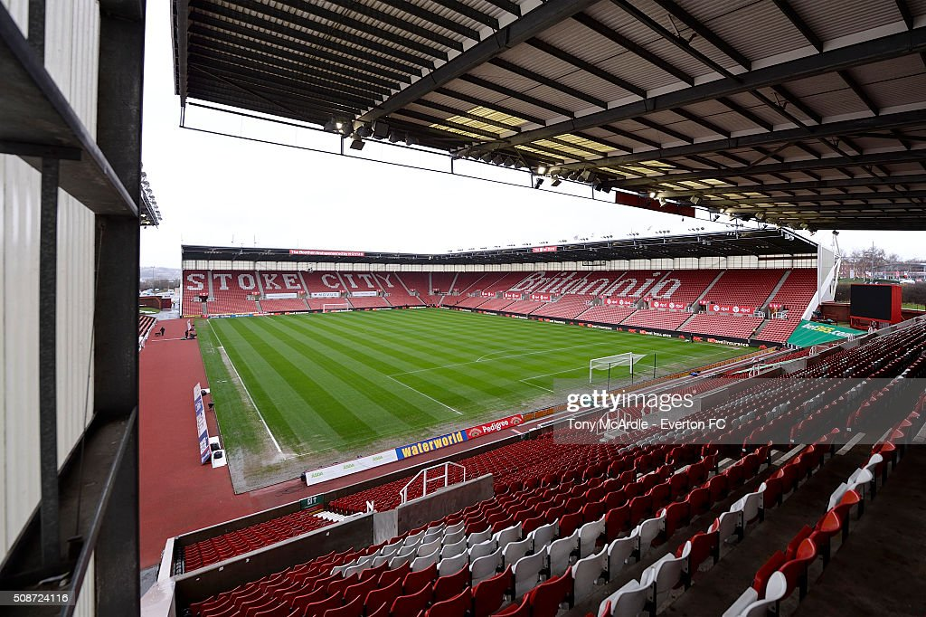A visiting fans view from The South Stand before the Barclays Premier League match between Stoke City v Everton at the Britannia Stadium on February 6, 2016 in Stoke on Trent, England.