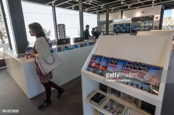 A visiting journalist seen at the souvenirs shop of Pier 7 of 25 de Abril bridge site of the 'Experiencia Pilar 7' an interpretive center of the...