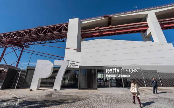 A visiting journalist walks to the entrance of Pier 7 of 25 de Abril bridge site of the 'Experiencia Pilar 7' an interpretive center of the bridge...