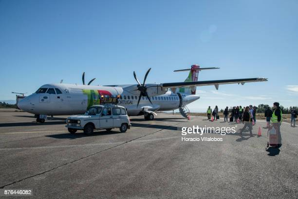 Visiting journalists walk off White Airways ATR 72'u2013600 airplane the company flies for TAP Express at Viseu Municipal Airport on the second day...