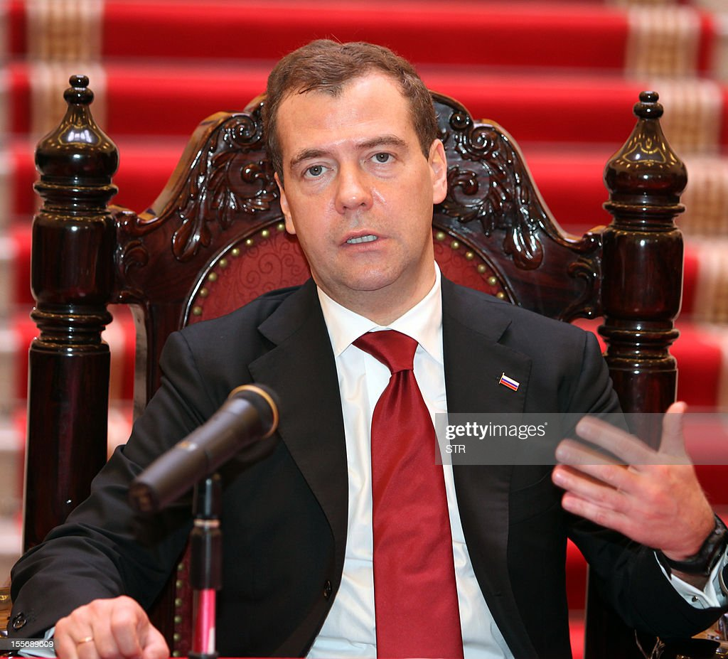 Visiting Russian Prime Minister Dmitri Medvedev speaks to the media after witnessing a signing ceremony with his Vietnamese counterpart Nguyen Tan Dung (not pictured) at Dung's cabinet office in Hanoi on November 7, 2012. Medvedev is on a two-day official visit to the former Southeast Asian communist ally after he attended the 9th summit Asia-Europe (ASEM 9) which ended in Vientiane on November 6, 2012.
