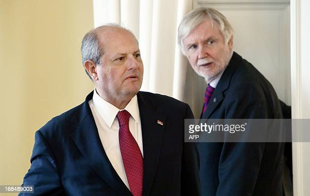 Visiting Serbian Foreign Minister Ivan Mrkic arrive for a press conference with his Finnish counterpart Erkki Tuomioja in Helsinki Finland on May 10...