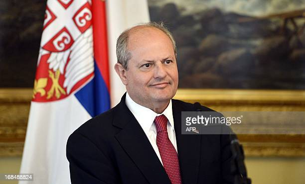Visiting Serbian Foreign Minister Ivan Mrkic attends a press conference with his Finnish counterpart in Helsinki Finland on May 10 2013 AFP PHOTO...