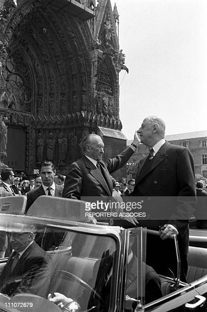 Visitof Konrad Adenauer in France in July 1962 After a FrancoGerman service at Reims cathedral in which Konrad Adenauer and General Charles de...