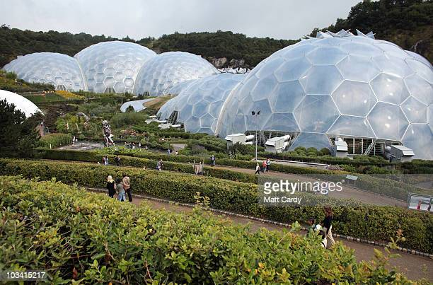 Visitor arrive at the Eden Project on August 17 2010 in St Austell United Kingdom The Cornish atttraction has installed a helium balloon that allows...