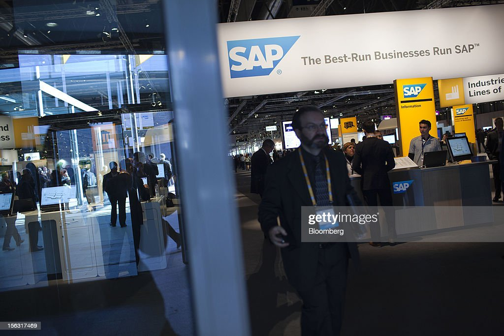 A visitor exits an SAP AG pavilion on the opening day of the Sapphire Now and TechEd conference in Madrid, Spain, on Tuesday, Nov. 13, 2012. SAP plans to deliver 6 SAP mobile apps for Windows 8. Photographer: Angel Navarrete/Bloomberg via Getty Images
