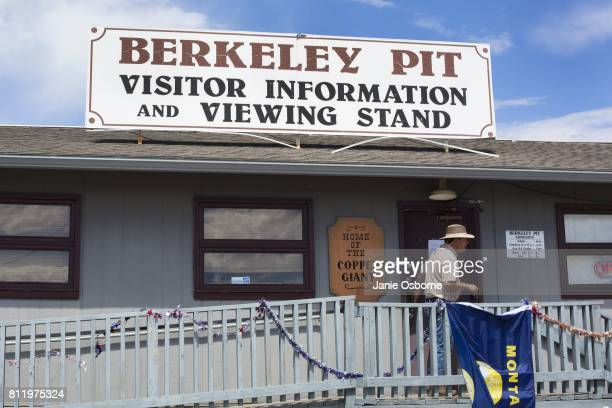 A visitor leaves the Berkeley Pit Visitor Information and Viewing Stand on July 6 2017 in Butte Montana Formerly an open pit copper mine today the...