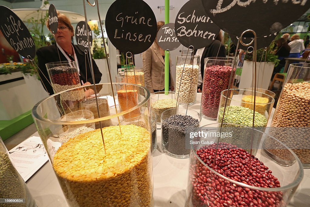 A visitor looks among organic pulses, including lentils and beans, at the 2013 Gruene Woche agricultural trade fair on January 18, 2013 in Berlin, Germany. The Gruene Woche, which is the world's largest agricultural trade fair, runs from January 18-27, and this year's partner country is Holland.