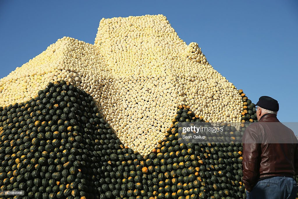 A visitor looks at a display meant to look like the Matterhorn and decorated entirely with locally-grown pumpkins and squash at the Spargelhof Buschmann & Winkelmann farm on October 1, 2013 in Klaistow, Germany. The Buschmann & Winkelmann farm, which grows approximately 80 different kinds of pumkins and squash, hosts an annual amusement park with tens of thousands of pumpkins and squash arranged into decorations that this year are in a Heidi and the Alm alpine theme.