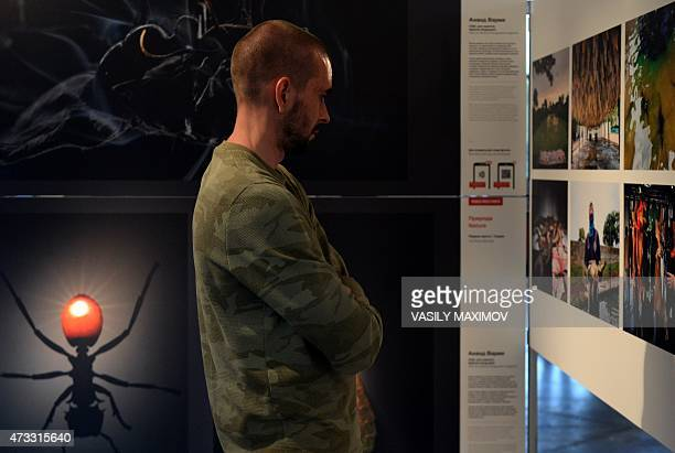 A visitor looks at a photography displayed among other selected winning photos of the 58th World Press Photo contest exhibition in Moscow on May 14...