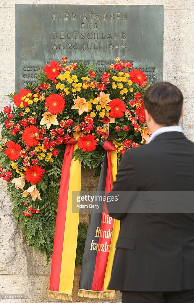 A visitor looks at a plaque dedicated to the memory of the planners of the 1944 assassination attempt on Adolf Hitler on the 69th anniversary of the failed mission on July 20, 2013 in Berlin, Germany. The leaders of the conspiracy, including Claus Schenk Graf von Stauffenberg, were shot in the courtyard, and the site has been used as a memorial to German resistance during World War II.